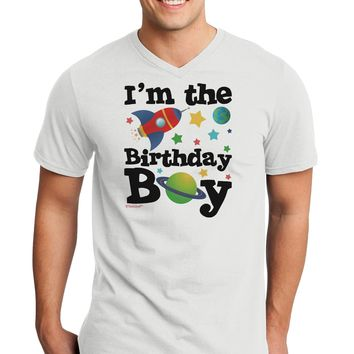 I'm the Birthday Boy - Outer Space Design Adult V-Neck T-shirt by TooLoud