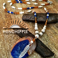 Womens fashion Boho hippie necklace , native american inspired feather pendant