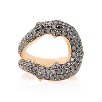 Horseshoe 14K Rose Gold Black Diamond Ring | Moda Operandi