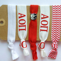 ALPHA OMICRON PI Elastic Hair Ties, Sorority Set with Panda Charm, Blue, No Tug, No bump, Easy on Hair, Hair Bands