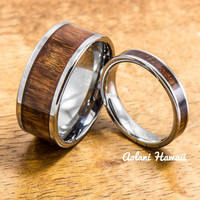 Wedding Band Set of Tungsten Rings with Hawaiian Koa Wood Inlay (4mm & 10mm width, Flat Style)