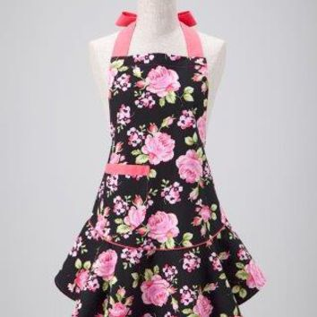 Pink Black Floral Mary Jean Apron
