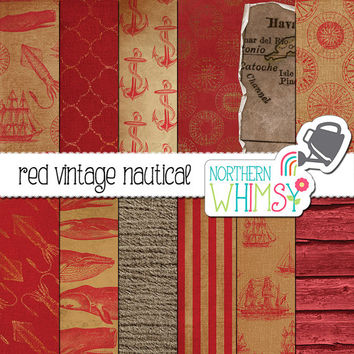 Vintage Nautical Digital Paper – red scrapbook paper with anchors, sailing ships & whales - distressed vintage digital paper -commercial use