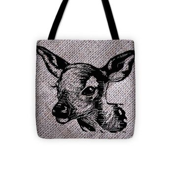 Deer On Burlap - Tote Bag