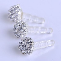 3.5mm Clear Crystal Ball Earphone Ear Cap Anti Dust Plug Cover for Iphone4/4s 3g