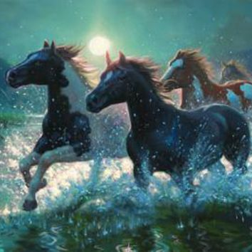 LED Canvas Art - Horses/ Water