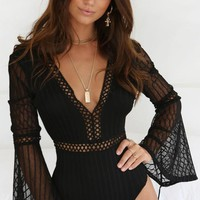 Heavenly Bodies Bandage Black Sheer Mesh Lace Long Flare Sleeve Backless Bodysuit Top