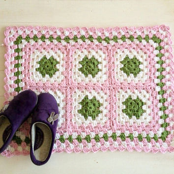 Pure Cotton Crochet Rectangle For Kitchen-Bath or Baby Girl Rug