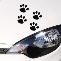 4Pcs Car Styling Paw Car Sticker Animal Dog Cat Bear Foot Prints Footprint Decal Car Stickers