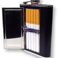 Bewild Brand® - 6 oz. Flask with Built in Cigarette Case (For King Size & 100's)
