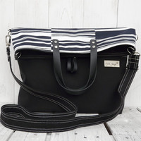 Canvas totes / Messenger bag / crossbody bag / black white striped foldover bag /tote bag