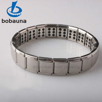 Hot new high quality men's health jewelry 316L stainless steel 120 germanium stone health bracelets cuff magnetic bangles