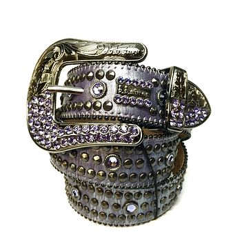 B.B. Simon 2552M36 'Purple Urkel' Swarovski Crystal Belt
