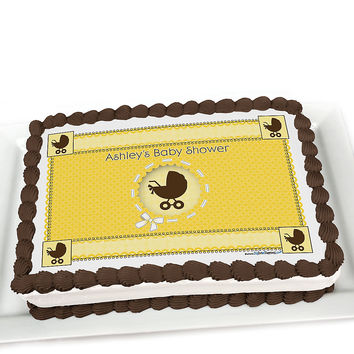Neutral Baby Carriage - Personalized Baby Shower Cake Topper
