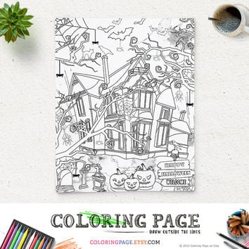 SALE Halloween Coloring Page Printable Haunted House Party Coloring Pages Instant Download Digital Art Holiday Printable Adult Coloring Book