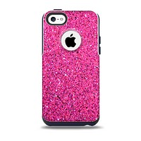 The Pink Sparkly Glitter Ultra Metallic Skin for the iPhone 5c OtterBox Commuter Case