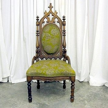 Antique Rare Chair Dated 1845 Gothic Style Cathedral Back with  from countryclassicantiques on Ruby Lane