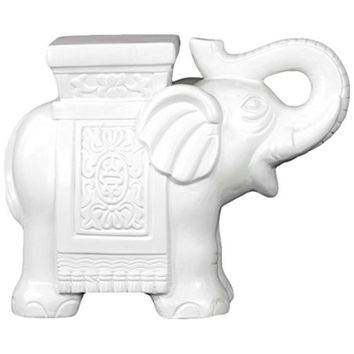 Ceramic Trumpeting Elephant With Cornice