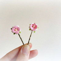 Bengalensis Roses-Pink flower bobby pins- Romantic style-Paper flowers & leaves,white,ivory,soft pastel,antiqued brass -vintage style