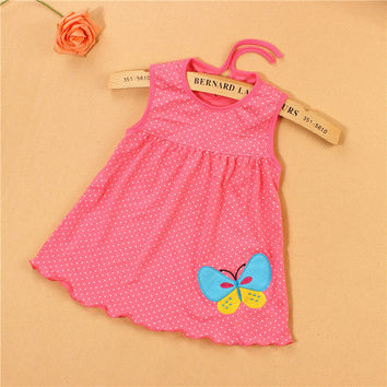 Monkids 2017 New Style Baby Dress Princess for Infant Summer Multicolor Stripes Baby Girl Dresses Newborn Girls Cutton Clothes