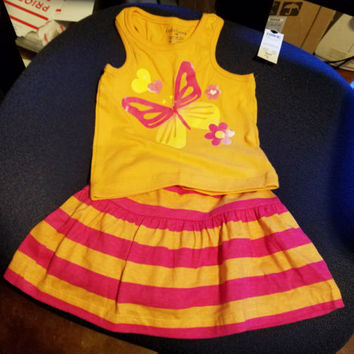 toddler girl tank top skirt outfit 12mos orange pink butterfly flower faded glor