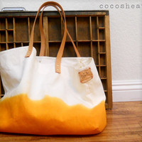 TOTE BAG..sunshine orange (with leather strap)....extra-large size - beach bag size (featured on Etsy)