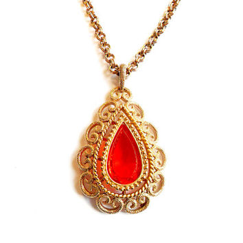 Vintage Avon Granada Necklace - Orange Glass Stone Pendant - Gold Tone Filigree - Adjustable Convertible Chain - 1973 70s Style -Signed