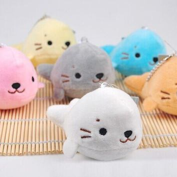 Super CUTE 6Colors - SEA Seal 8CM Plush Stuffed TOY DOLL ; Wedding Bouquet TOY GIFT ; Plush Keychain TOY DOLL