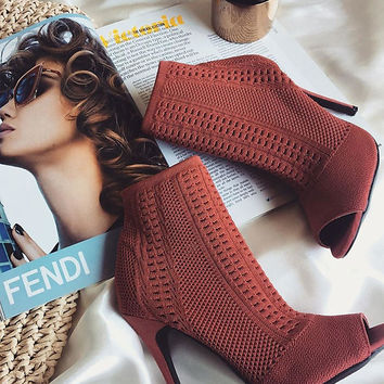 Rust Knit Peep Toe Booties