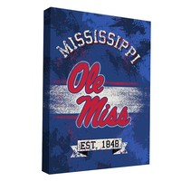 Ole Miss Rebels Banner Design 36'' x 24'' Canvas Wall Art (Ole Team)