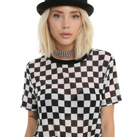 Black & White Checkered Girls Mesh Top