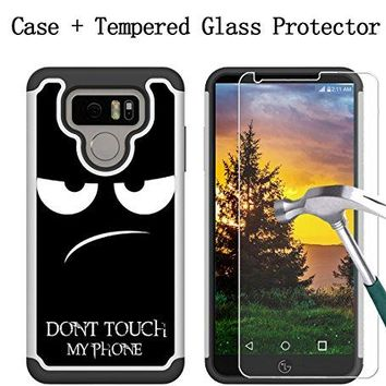 Boonix LG G6 Case and Screen Protector, 2 Piece Bumper, Guard Against Impacts and Drops [2-Pack Tempered Glass Screen Protector + Don't Touch My Phone Fun Image Protective Cover]
