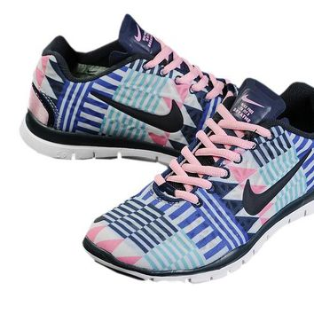 Women's Nike Free TR FIT 3 Print Geometry Limited Training Shoes Blue/Black/Pink