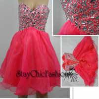Watermelon Short Rhinestone Top Strapless Lace Up Back Homecoming Dress 2014