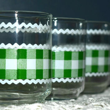 Vintage Glassware-Libbey-Juice Tumblers-Green-Plaid-Set of 4