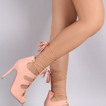 Qupid Caged Lace Up Peep Toe Heel