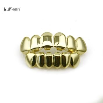 LuReen Hip Hop Gold Teeth Grills Top&Bottom Teeth Grillz Dental Vampire Teeth Caps Mouth Halloween Party Body Jewelry LD0010
