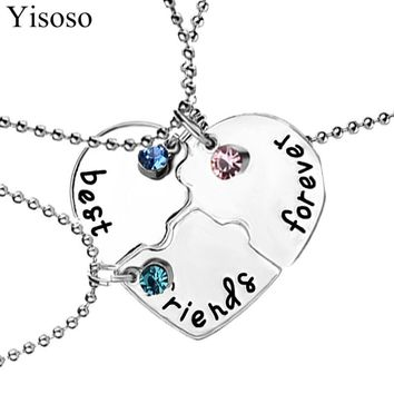 Yisoso 3Pcs/set Best Friends Forever Heart Puzzle Pendant Necklaces Silver Color Choker Neckless Alloy Friendship Necklace XL079
