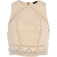 Cream embellished sleeveless crop top