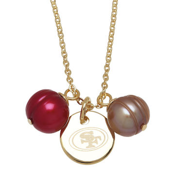 """Honora Officially Licensed NFL """"San Francisco 49ers"""" Freshwater Cultured Ringed Pearl Pendant"""