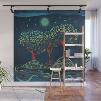 Retro trees Wall Mural by vivianagonzlez