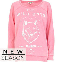 Pink the wild ones print sweatshirt