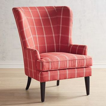 Asher Coral Windowpane Armchair