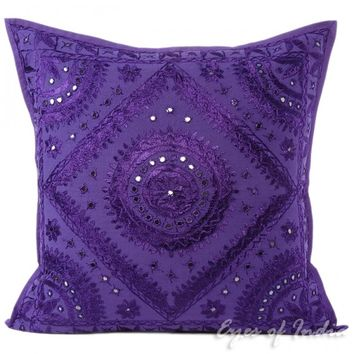"""24"""" LARGE PURPLE EMBROIDERED DECORATIVE SOFA THROW PILLOW CUSHION COVER Indian Bohemian"""