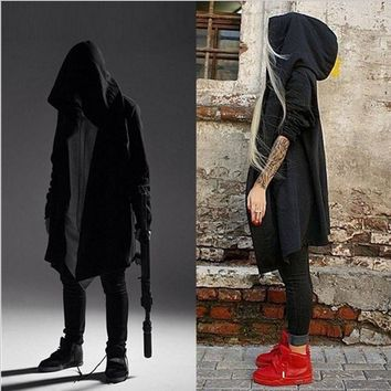 Dark Elf Knight Wizard Cloak Men's Hooded Trench Coat hip hop streetwear