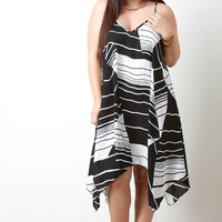 Graphic Striped Trapeze Dress