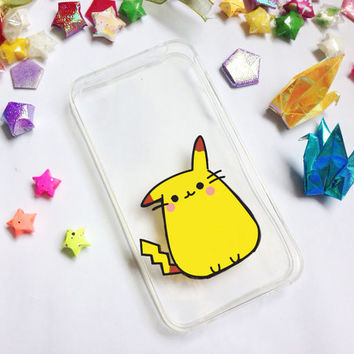 Hand painted pikachu phone cases, iPhone 6 case clear, iPhone 6 case, iPhone 6s case, Pokemon Phone Case, Samsung Galaxy S7 Edge Case