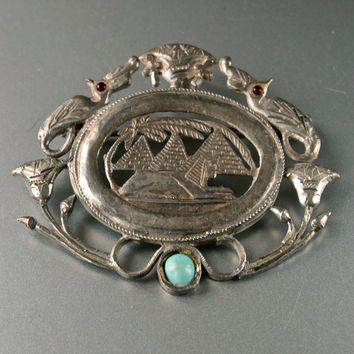 Art Deco Vintage Great Pyramids, Sphinx and Peacocks Brooch/Pendant Egyptian Revival 800 Silver with Turquoise and Garnets