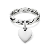 Twisted Wire Dangle Ring Puffed Heart Charm   James Avery