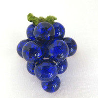 Blue Lucite Grapes Brooch, Vintage Fruit Pin